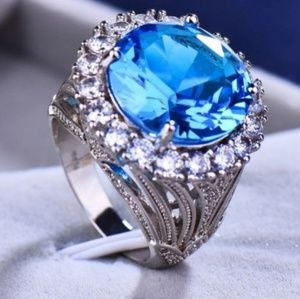 Women's Blue Stone Vintage Silver Ring